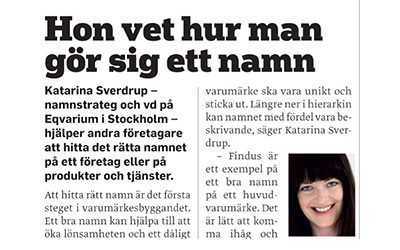 Article in Företagaren (In Swedish)